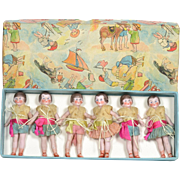 6 All Bisque Flapper Dolls, Mint in the Box, German
