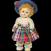 Strung Ginny Doll, Hard Plastic, Caracul Wig