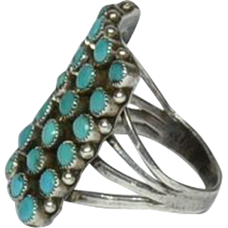 Silver and Turquoise Navajo Ring, Size 7 1/2, 1950's