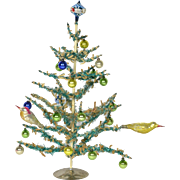"German Tinsel and Metal Christmas Tree, Ca 1950's, 12 1/4"" tall"