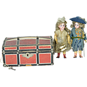 Two French Dolls in Trunk, All Original, Ca.1880