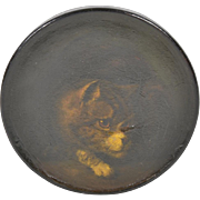Painted Cat Decorated Snuff Box