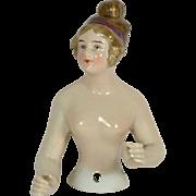 German Porcelain Half Doll, EX