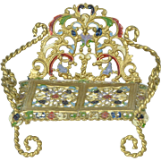 "Ornate Metal Enameled Bench, 2 1/2"" tall"