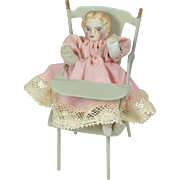 Metal High Chair With All-Bisque Doll, German