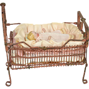 Metal Baby Bed with All-Bisque Baby, All Original