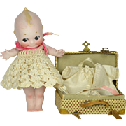"All Bisque Kewpie, 6"" tall, with clothing & suitcase"