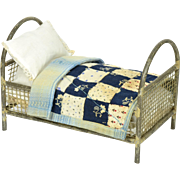 Metal Doll Bed w/ Quilt & Linen Sheets