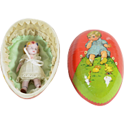 All Bisque Flower Girl in Easter Egg, German