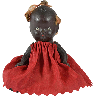 """Painted Black Bisque Baby, Japan, 4"""" tall"""