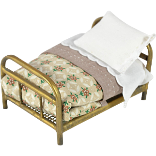 Doll House Gold Metal Bed w/ Bedding