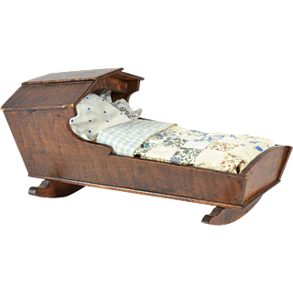 """Wooden Doll Cradle w/ Bedding, 10 1/4"""" long"""