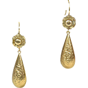 9kt Victorian English Day and Night Pierced Earrings