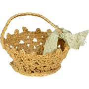 """Hand Crocheted Basket for 6"""" to 12"""" Doll"""