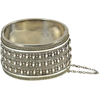 Wide English Silver Victorian Bracelet, Ca. 1880