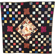 "Handmade Silk Quilt, 47"" x 47"", ca. 1890, Ready for Display"