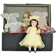 """SALE All-Bisque #208 Doll 8 1/2""""Tall, With Trunk & Clothing"""