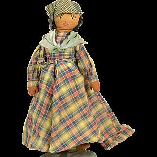 "Black Cloth Doll, Ca. 1900, 12 1/2"" tall, A/O"