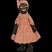 "Black Cloth Doll, 15"" tall, All Original"