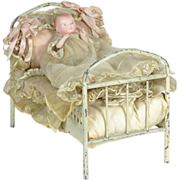 All-Bisque Bye Lo Baby & Original Bed, All Original