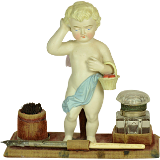 All Bisque Position Angel in Inkwell, Ca. 1890