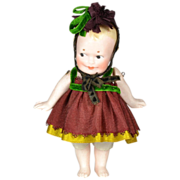 """German All Bisque Side Glancing Doll, 5"""" Tall, 1910-on"""