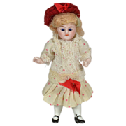 "Antique German All Bisque Doll, 4"" Tall, Factory Original, 1890"