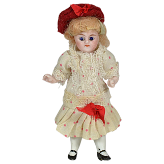 "Antique German All Bisque Doll, 4"" Tall, Factory Original, 1890"