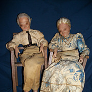 Wonderful Old Wax Granma & Granpa Wax Dolls Free P&I US Buyers