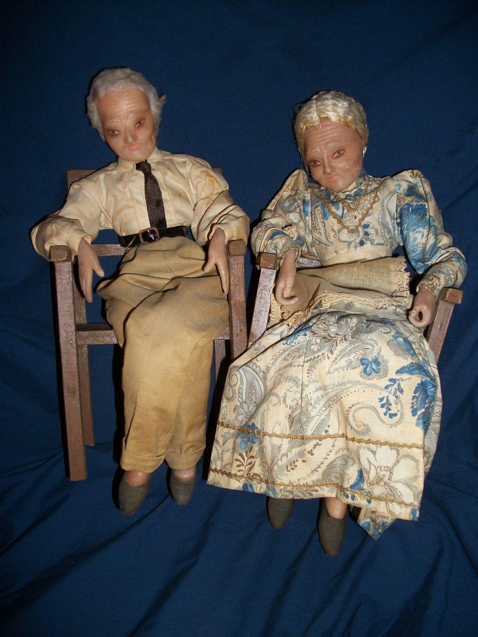 Wonderful Old Wax Granma & Granpa Wax Dolls Free P&I US Buyers