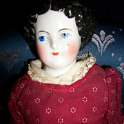 "1800'S 14"" Flat Top China Head doll Free P&I US Buyers"