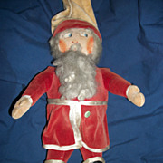 "Vintage 17"" Velvet Cloth Santa Doll Hartford Conn Free P&I US Buyers"