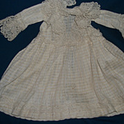 Period Summer White dress for China or bisque doll free p&i US buyers