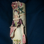 "Lovely 9"" Majolica Figural Vase Free P&I US BUYERS"