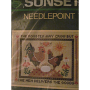Wonderful Sunset Needlepoint Rooster Hen Kit Free P&I US Buyers