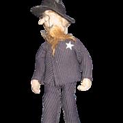 "9"" Vintage Folk Art Cloth Sheriff Doll Free P&I US Buyers"