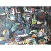 """Erwin Wending (1914 -1993) Oil Painting """"City Lights"""" Free P&I US Buyers"""