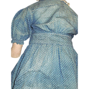 Wonderful Blue Faded Indigo Doll dress for China cloth or Bisque doll Free P&I US Buyers