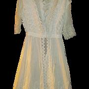 Beautiful Summer White  elaborate Dress & Slip wonderful lace and crochet trimnFree P&I US Buyers