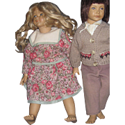 "Heidi Ott Swiss Design Adorable 14"" Boy and Girl Dolls Free P&I US Buyers"
