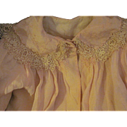 Exquisite Pale Pink Silk & Lace Coat for large bisque china dolls or babies Free P&I US Buyers