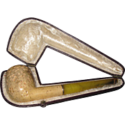 Vintage Meerschaum carved pipe in fitted case Free P&I US buyers