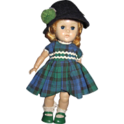 Vogue Ginny Doll Straight leg Walker Little Miss Green Plaid Free P&I US Buyers - Red Tag Sale Item