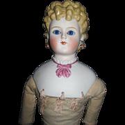 "26"" Beautiful Parian Glass eyes Pierced Ears Doll Shoulder plate damage Free P&I US Buyers"