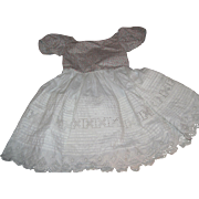 Lovely vintage hand made white & flower print dress for Child or large doll Free P&I US Buyers