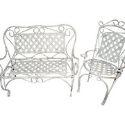 Lovely Iron Settee & Chair for your China r Bisque Doll Free P&I US Buyers