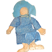 "Adorable 21"" handmade artist cloth doll Free P&I US Buyers"