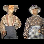 Folk Art Wood Ozjarks Ma Pa Dolls Free P&I US Buyers Free P&I US Buyers