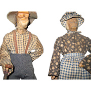 Folk Art Wood Ozjarks Ma Pa Dolls Free P&I US Buyers Free P&I US Buyers
