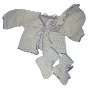 Beautiful crocheted Sweater Bonnet  & booties for Dydee & Friends Free P& I US Buyers